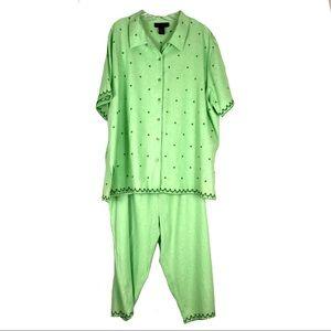 Denim & Co Green 2 Pc Outfit Sz 2X
